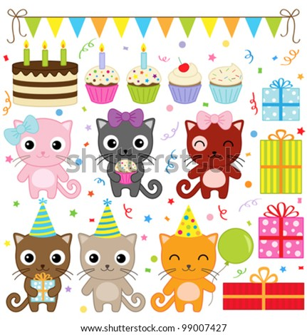 vector birthday party elements