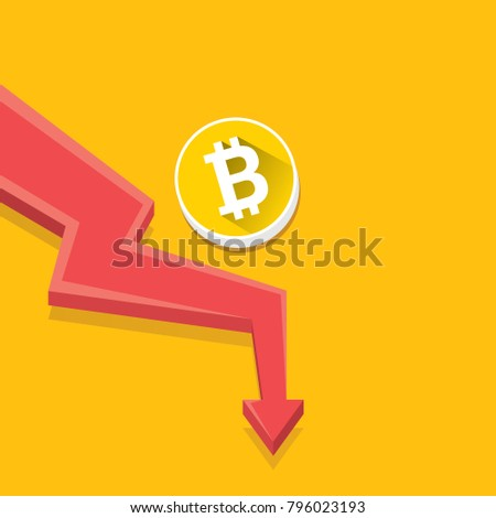 vector bitcoin market crash graph on orabge background. Bitcoin hype concept vector illusrtation with blank space fo text. depreciation of bitcoin. Bitcoin's Price Drops