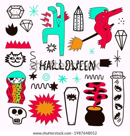 vector bizarre halloween sticker collection.Quirky hand drawn style.Modern magic and feminist witches.magical witch, eye, fire, potion, crystals.Spiritual groove funky patches.punk tattoo templates