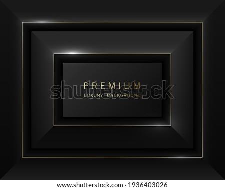 Vector black abstract rectangular luxury frame. Premium label dark design faceted background. Golden line frame. Tech layered border