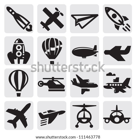 vector black airplane icon set on gray