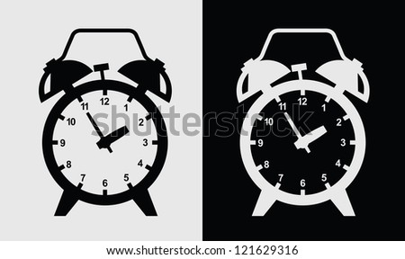 vector black alarm clock icon on gray