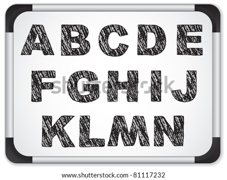 Vector - Black Alphabet on Whiteboard