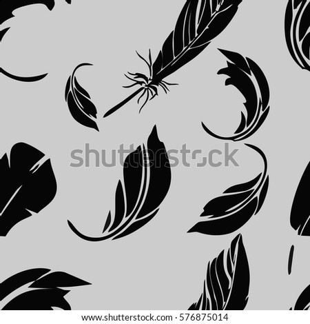vector black and grey feather