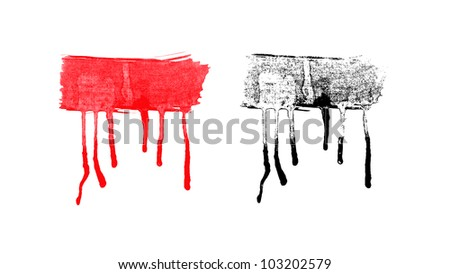 vector black and red  ink splashes on white background