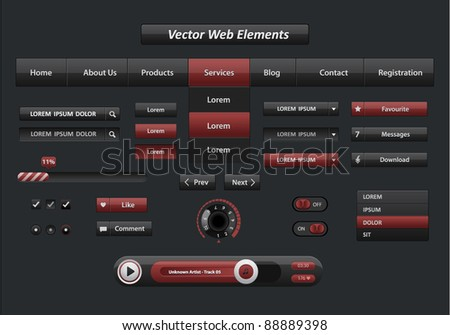 Vector black and red web elements and audio player with control navigation panel
