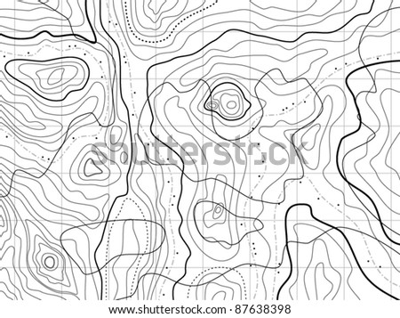 vector black and white abstract topographical map pattern with contour lines and no names