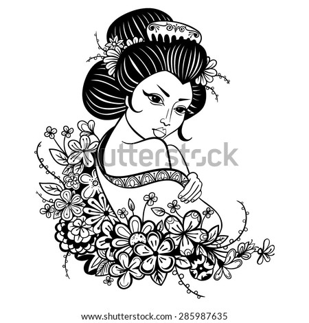stock-vector-vector-black-and-white-asian-geisha-woman-illustration