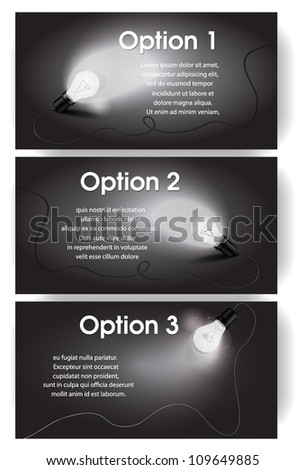 Vector black and white banners for text with light bulb