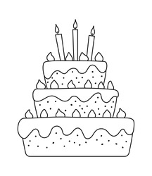 Vector black and white birthday cake with candles. Cute funny b-day dessert illustration for card, poster, print design. Holiday line icon for kids isolated on white background