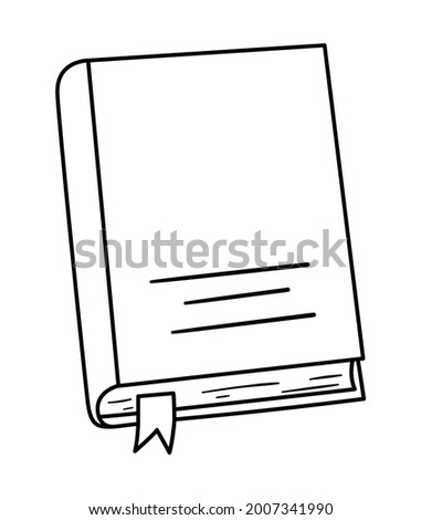 Vector black and white book illustration. Back to school contour educational clipart. Cute outline style object. Funny line icon for kids