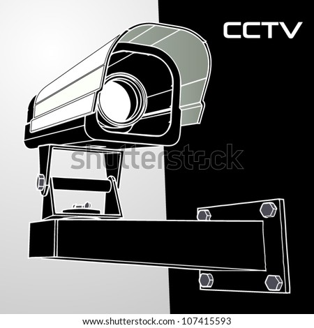 Vector black and white cctv camera