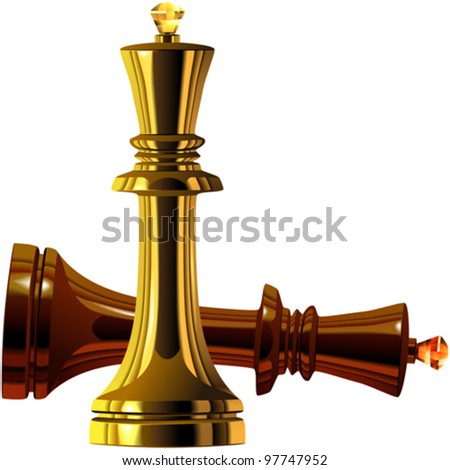 vector Black and White Chess King of wood and gold isolated on white background - stock vector