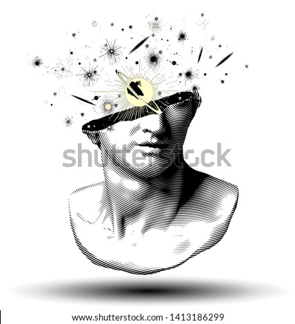 Vector black and white circle halftone fragment of colossal head sculpture of classical style from 3d rendering  with planets and galaxies exploding from the broken side isolated on white background.