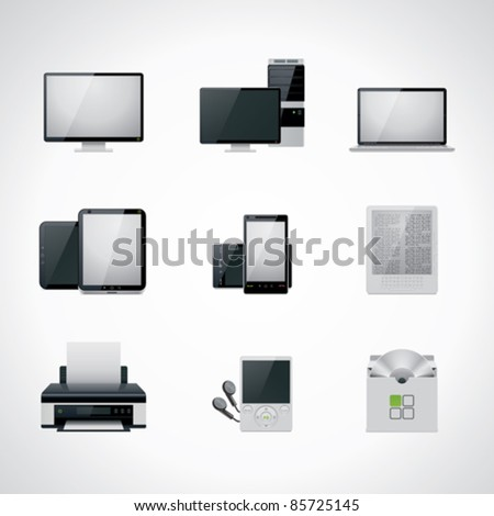 Vector black and white computer and electronics icon set. Includes desktop PC, monitor, laptop, tablet, smartphone, printer