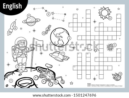 Vector black and white crossword in English, education game for children about space. Cartoon astronaut and cosmic objects