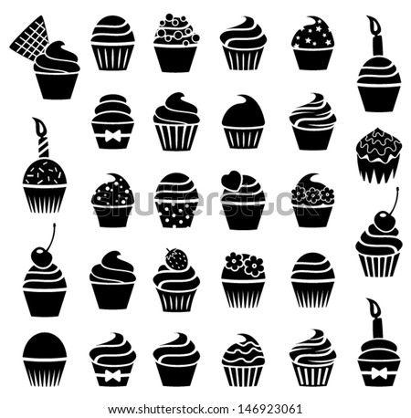 vector black and white cupcake icons. collection of dessert, birthday and fruit cupcakes with sprinkles, flowers and candles. cake muffins with cream