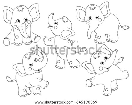 Vector black and white cute elephants set, elephant clipart, illustration clipart