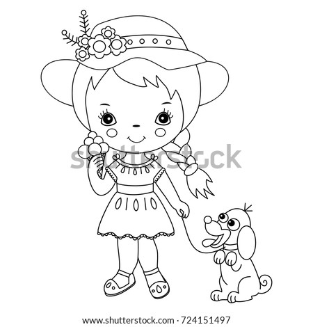 Vector black and white cute little girl with ice cream and a dog. Little girl with ice cream vector illustration