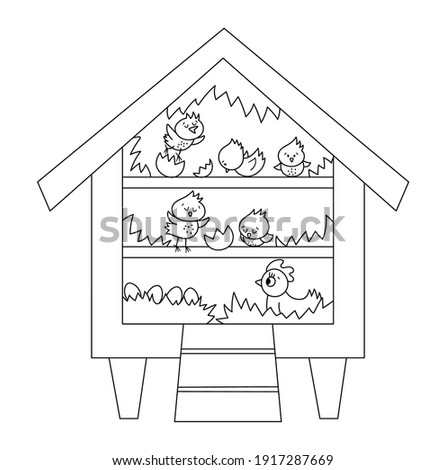 Vector black and white cute roost icon with hatching chicks and hen inside. Outline perch illustration for kids. Farm or garden birds house isolated on white background. Hen-coop coloring page