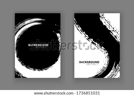 Vector black and white design template flyer.Cover book abstract background. Сток-фото ©