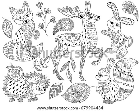 Vector black and white doodle forest animals set includes squirrel, deer, fox, hedgehog and rabbit. Detailed ornamental sketch of animals in tribal style. Doodle forest animals vector illustration.