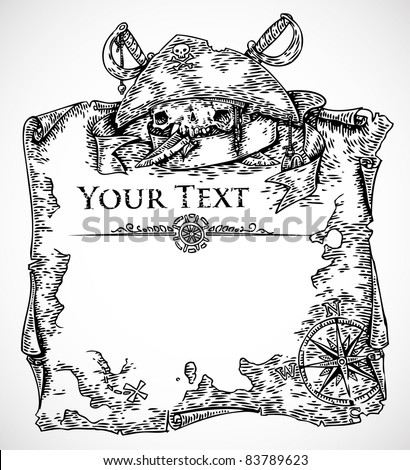 vector black and white engraved pirate treasure map template