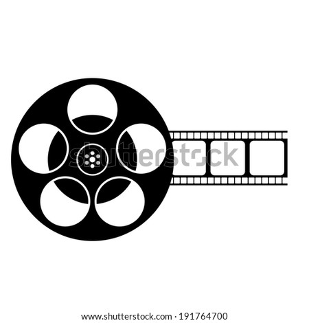 Vector Black And White Film Reel Icon Isolated