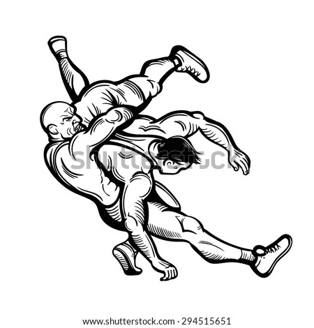 Vector Black and White Freestyle Wrestling Illustration