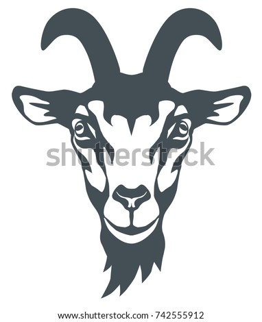 vector black and white graphic illustration of a stylized head of a goat