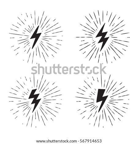 Vector black and white grunge retro set with lightning bolt signs with sunburst effect