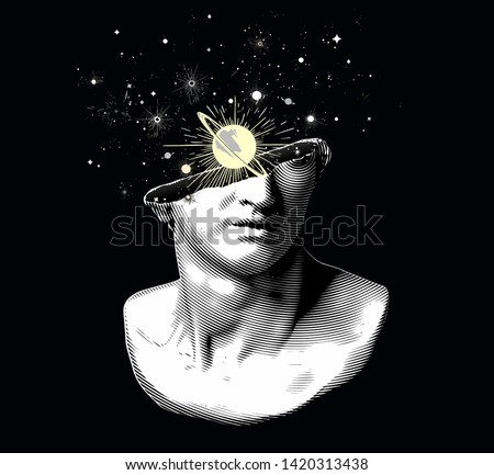 Vector black and white halftone fragment of colossal head sculpture in classical style from 3d rendering with planets and galaxies exploding from the broken side.