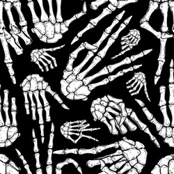 Vector Black and White Halloween Skeleton Hands Seamless Pattern