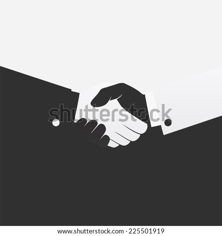Vector black and white handshake icon