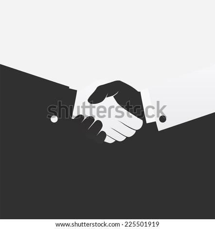 Vector black and white handshake icon