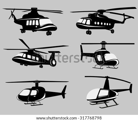 Vector black and white Helicopters image design set for illustration, postcards, labels, stickers and other design needs.