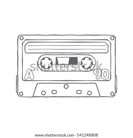 Vector black and white illustration compact tape cassettes. Web graphics, banners, advertisements, stickers, labels, business templates, t-shirt. Isolated on a white background