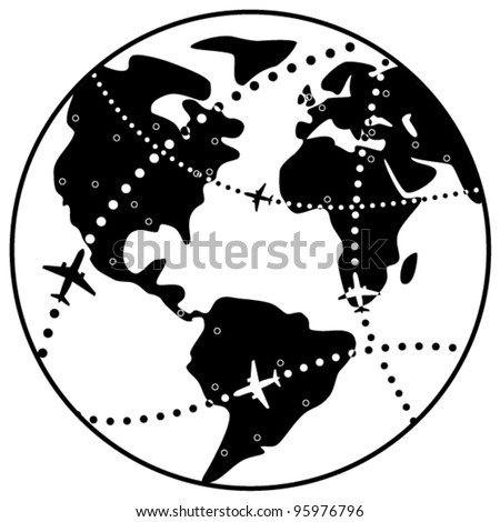 vector black and white illustration of airplane flight paths over earth globe