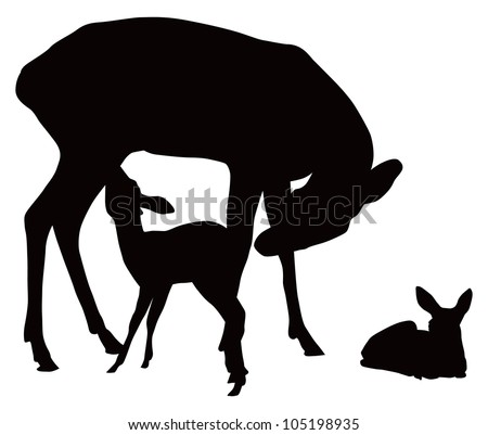 Vector black and white illustration of deer family. Mother feeding cattle.