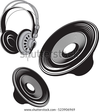 Vector black and white  illustration of speakers and headphones acoustic devices.