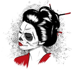 Vector black and white image of Japanese geisha skull woman with painted face.