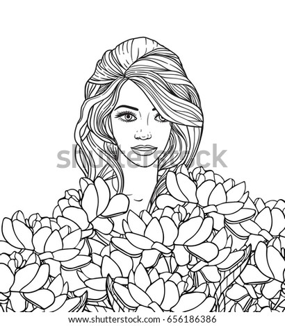 Vector black and white Line drawn girl with flowers