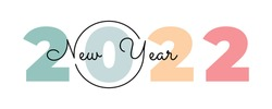 Vector black and white lines lying on multicolored numbers 2022 for poster, brochure, banner, ticket. Numbers and handwritten letters isolated on white background. Happy new year 2022.