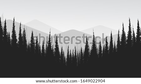 vector black and white mountain