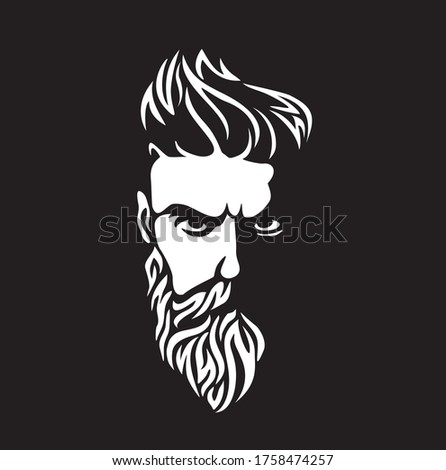 Vector black and white of hipster man logo.  Silhouette of hipster guy in profile for barber shop.  Elements for logo and tattoo in hipster style