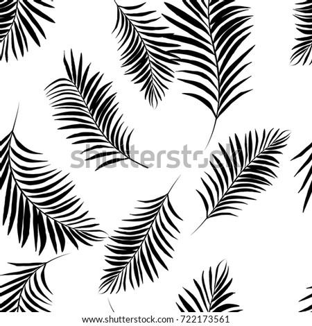 Vector Black And White Palm Tree Pattern Seamless On Background Wallpaper Textile Fabric