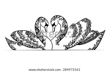 Vector Black and White Romantic Pair of Swans