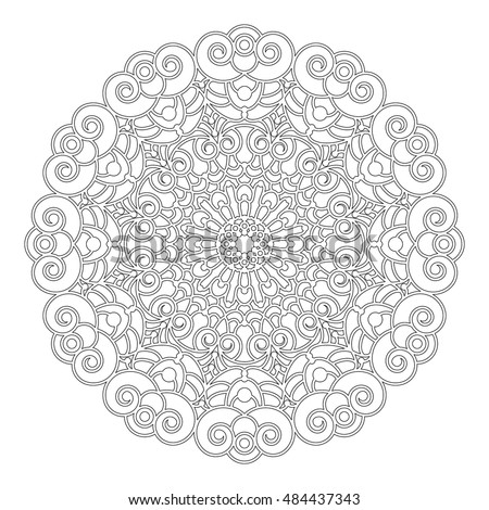 vector black and white round geometric floral  mandala with spirals - adult coloring book page