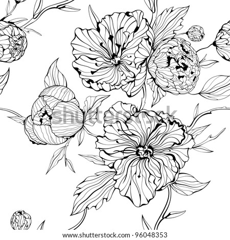 Vector black and white seamless background with flowers