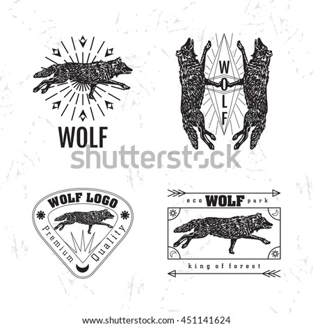 vector black and white set with